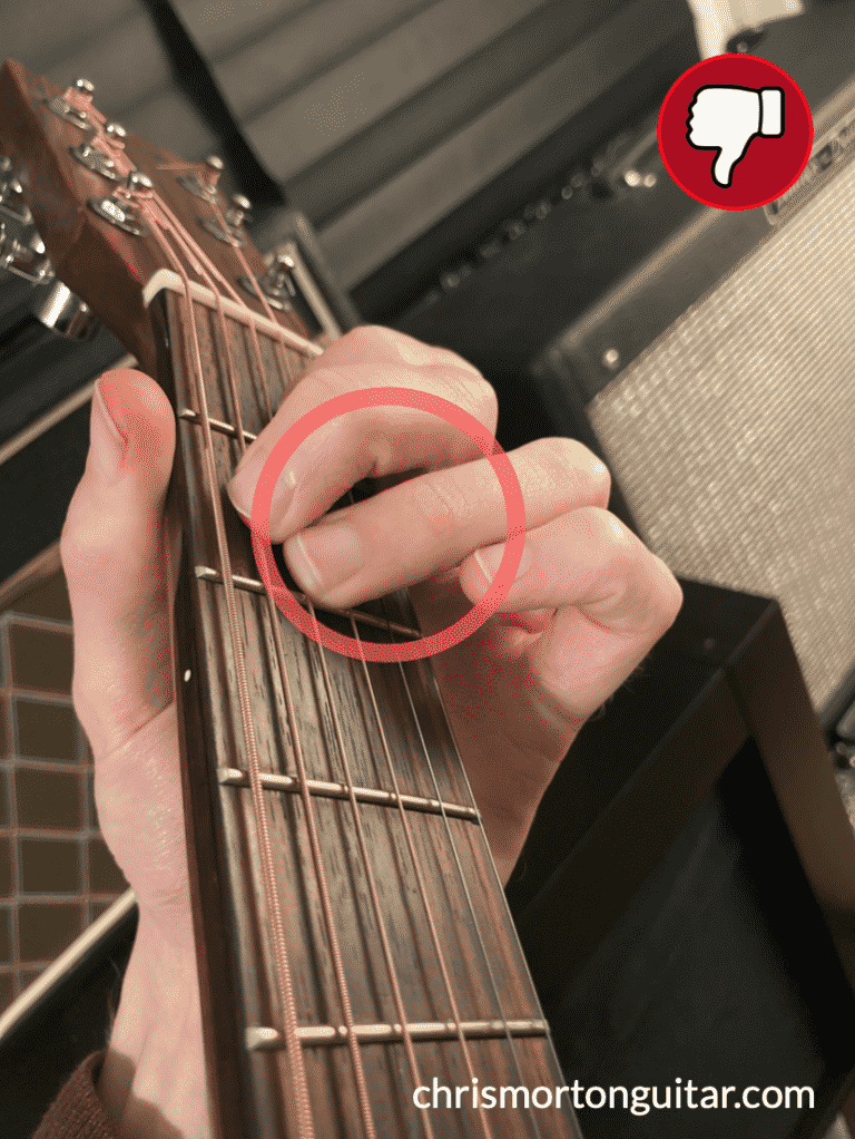 This finger will mute the next string